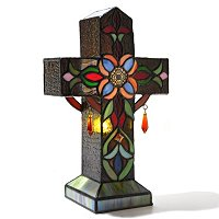 TIFFANY STYLE FLEUR CROSS ACCENT LAMP