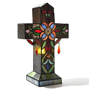 431-858 - Tiffany-Style 13'' Fleur Cross Stained Glass Table Lamp