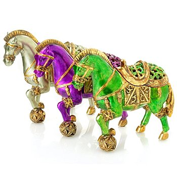 431-869 - Style at Home with Margie Set of Three 8.78'' Horse Keepsake Boxes