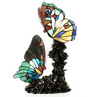 TIFFANY STYLE SWEET SERENITY DOUBLE BUTTERFLY TABLE LAMP