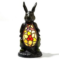 TIFFANY STYLE RAZZLE DAZZLE RABBIT ACCENT LAMP