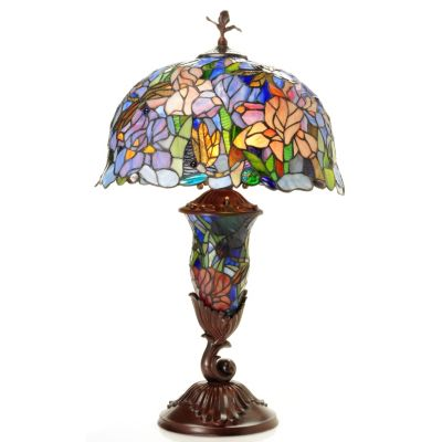 "431-931 - Tiffany-Style 29"" Cornelius Estate Double Lit Stained Glass Table Lamp"