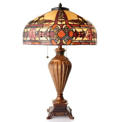 "431-933 - Tiffany-Style 27.5"" Algonquin Stained Glass Table Lamp"