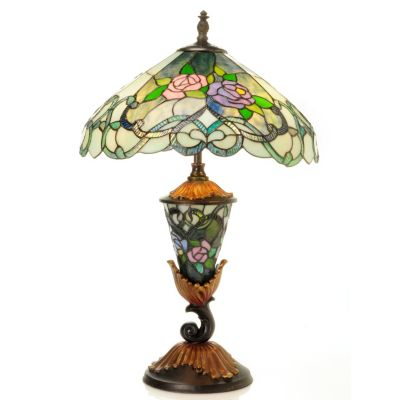 "431-941 - Tiffany-Style 27.25"" The French Rose Double Lit Stained Glass Table Lamp"
