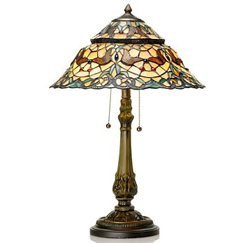 431-944 - Tiffany-Style 25.5'' Butterfly Dance Geometrical Stained Glass Table Lamp