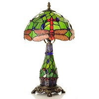 Tiffany Style Norah Double Lit Hanging Head Dragonfly Table Lamp