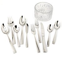 WATERFORD CRYSTAL 65 PC FLATWARE SET WITH LISMORE COASTER