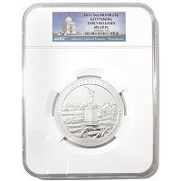 2011 5 OZ America The Beautiful Gettysburg NGC MS69 PL Silver Coin