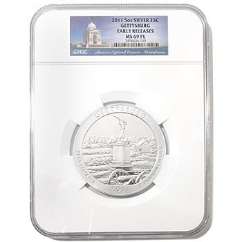 432-094 - 2011 5oz Silver MS69 PL NGC ''America the Beautiful'' Gettysburg Coin
