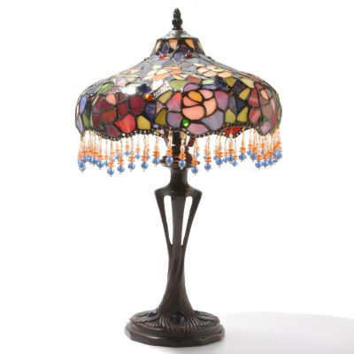 "432-179 - Tiffany-Style 19.75"" Blooming Beauty Antiqued Stained Glass Table Lamp"
