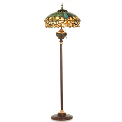 "432-187 - Tiffany-Style 62.25"" Summer's Sunset Stained Glass Double Lit Floor Lamp"