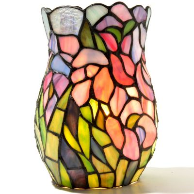 "432-199 - Tiffany Style 8"" The Elegant Iris Stained Glass Vase Lamp"