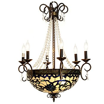 432-207 - Tiffany-Style 16'' Sapphire Opal Stained Glass Chandelier