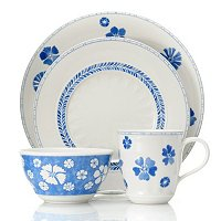 FARMHOUSE TOUCH BLUE FLOWERS 16 PIECE DINNERWARE SET