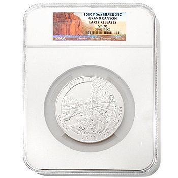 432-410 - 2010 5 oz Silver SP70 Early Release NGC ''America the Beautiful'' Grand Canyon Coin