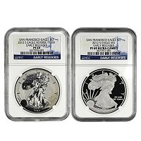 2012 75th Anniversary S Silver American Eagle 2pc Proof Set PR69 ER NGC
