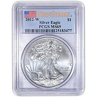 2012 W Silver American Eagle MS69 Burnished FS PCGS Flag Label