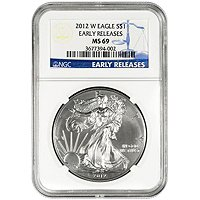 2012 W Silver American Eagle MS69 Burnished ER NGC Blue Label