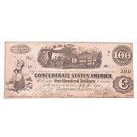 1862 $100 CONFEDERATE TRAIN NOTE