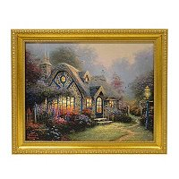 "THOMAS KINADE ""CANDLELIGHT COTTAGE"" 16X20 TEXTURED PRINT"