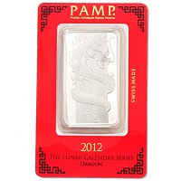 2012 1OZ SILVER PAMP SUISSE YEAR OF THE DRAGON