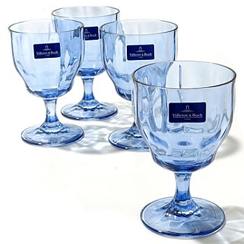 432-538 - Villeroy & Boch Farmhouse Touch Four-Piece Blue Crystal Drinkware Set