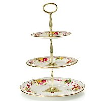 ROYAL ALBERT OLD COUNTRY ROSES HOLIDAY 3-TIER CAKE STAND