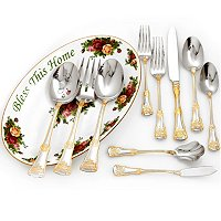 ROYAL ALBERT 65-PIECE FLATWARE SET W/MEDIUM OLD COUNTRY ROSES PLATTER