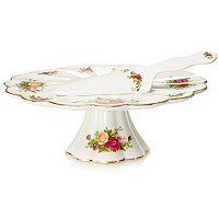 ROYAL ALBERT OLD COUNTRY ROSES FOOTED CAKE PLATE AND CAKE SERVER SET