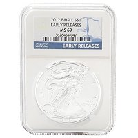 2012 SILVER EAGLE EARLY RELEASE LABEL NGC MS69