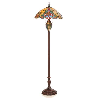 "432-983 - Tiffany-Style 62.5"" Fleur-de-lis Double Lit Stained Glass Floor Lamp"