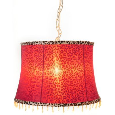 "433-001 - Style at Home with Margie 10"" Scarlet Leopard Beaded Hanging Lamp"