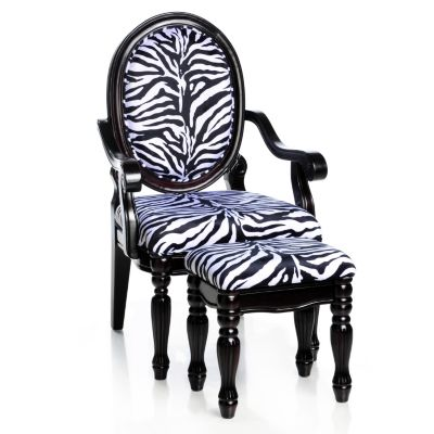 433-013 - Style at Home with Margie Hand-Carved Zebra Print Chair & Ottoman