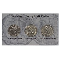 1916-47 WALKING LIBERTY P, D, AND S SET