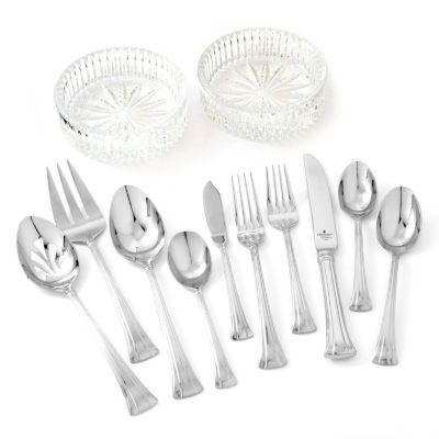 433-270 - Waterford® Crystal 65-Piece Stainless Steel Flatware Set w/ Two Wine Coasters