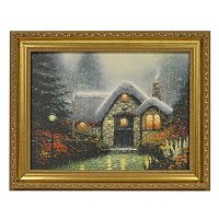 "THOMAS KINKADE ""WOODSMAN'S THATCH"" FRAMED TEXTURED PRINT"