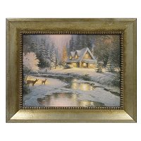 "THOMAS KINKADE "" DEER CREEK COTTAGE"" FRAMED TEXTURED PRINT"