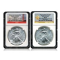 2012 SILVER AMERICAN EAGLE NGC MS70 MATCHED S & D MINT SET