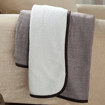 433-772 - North Shore Linens™ 60'' x 50'' Reversible Sherpa Herringbone Knit Throw