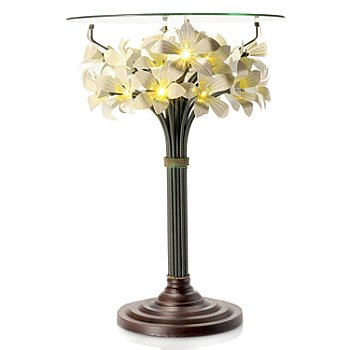 433-905 - Style at Home with Margie 24'' Blooming Lights Floral LED-Lit Glass Top Table