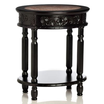 "433-918 - Style at Home with Margie 26"" Brookside Hand-Carved Table"