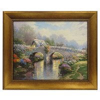 "THOMAS KINKADE "" BLOSSOM BRIDGE"" 16X20 TEXTURED PRINT"