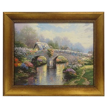 433-930 - Thomas Kinkade ''Blossom Bridge'' 16'' x 20'' Framed Textured Print