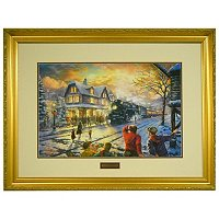 "THOMAS KINKADE ""ALL ABOARD FOR CHISTMAS"" LE FRAMED PRINT"