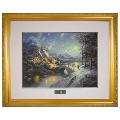 "433-936 - Thomas Kinkade ""Christmas Moonlight"" 18"" x 24"" Limited Edition Framed Print"