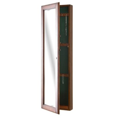 434-147 - Holly & Martin™ Warm Brown Walnut Finish Wall-Mount Jewelry Mirror