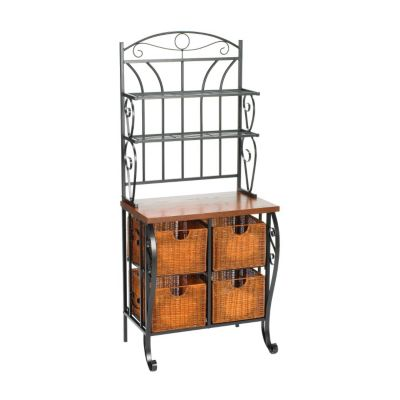 434-157 - Holly & Martin™ Iron & Wicker Baker's Rack