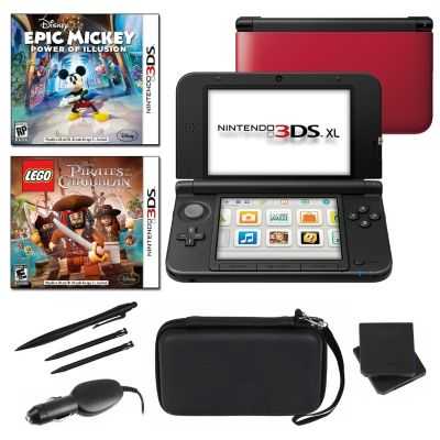 434-648 - Nintendo 3DS XL Red Fun Bundle w/ Two Games & Accessories