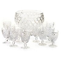House of Waterford Designer Studio Waterford Wat. Lace Punch Bowl/12 Cups Set