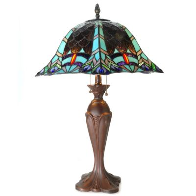 "434-923 - Tiffany-Style 29"" Scaling Peacock Antiqued Stained Glass Table Lamp"